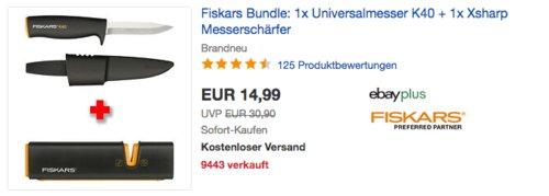 Fiskars Universalmesser K40 inkl. Fiskars Xsharp Messerschärfer - jetzt 25% billiger