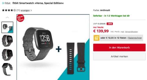 """fitbit Smartwatch """"Versa"""" Special Edition in Anthrazit, inkl. Armband in der Größe L, S und klassisches Armband - jetzt 16% billiger"""