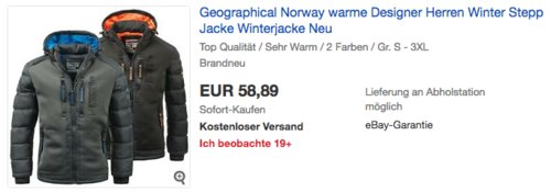 """Geographical Norway Herren Winter Steppjacke """"Beachwood"""", black oder darkgrey - jetzt 26% billiger"""