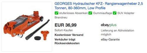 GEORGES Hydraulischer KFZ- Rangierwagenheber 2,5 Tonnen, 80-360mm - jetzt 16% billiger