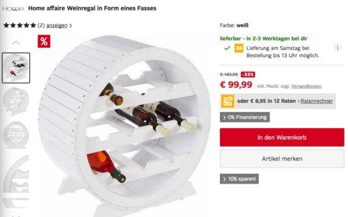 Home affaire Weinregal in Form eines Fasses, 60/30/60 cm, weiß - jetzt 9% billiger
