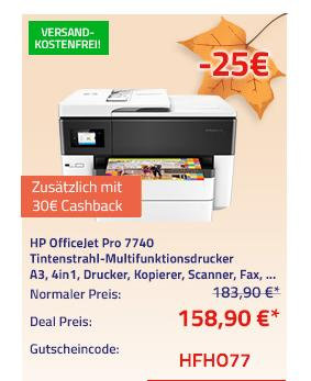 HP OfficeJet Pro 7740 All-in-One Tintenstrahl-Multifunktionsdrucker, A3 - jetzt 14% billiger