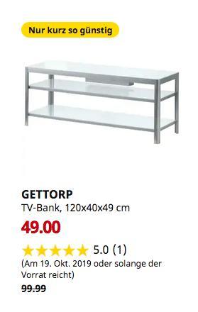 IKEA Augsburg - GETTORP TV-Bank, weiß, Aluminium, 120x40x49 cm - jetzt 51% billiger