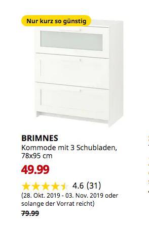 IKEA Bremerhaven - BRIMNES Kommode mit 3 Schubladen, weiß, Frostglas, 78x95 cm - jetzt 38% billiger