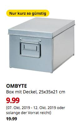 IKEA Bremerhaven - OMBYTE Box mit Deckel, verzinkt, 25x35x21 cm - jetzt 50% billiger