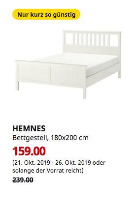 IKEA Düsseldorf - HEMNES Bettgestell, weiß gebeizt, 180x200 cm - jetzt 33% billiger