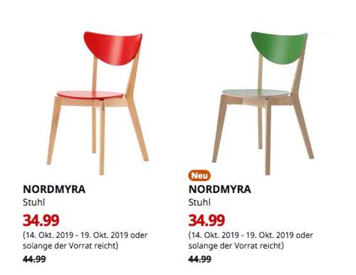 IKEA Erfurt - NORDMYRA Stuhl, rot oder grün - jetzt 22% billiger