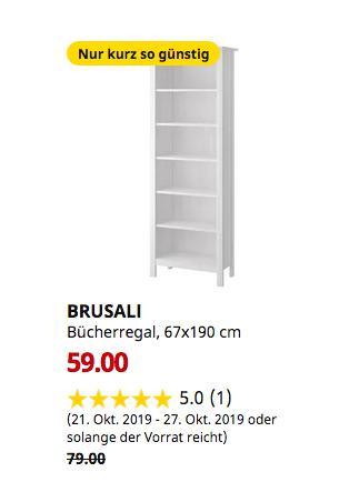 IKEA Frankfurt - BRUSALI Bücherregal, weiß, 67x190 cm - jetzt 25% billiger