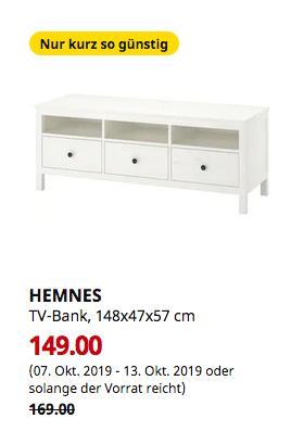 IKEA Frankfurt - HEMNES TV-Bank, weiß gebeizt, 148x47x57 cm - jetzt 12% billiger