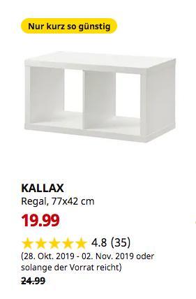IKEA Frankfurt - KALLAX Regal, weiß, 77x42 cm - jetzt 20% billiger