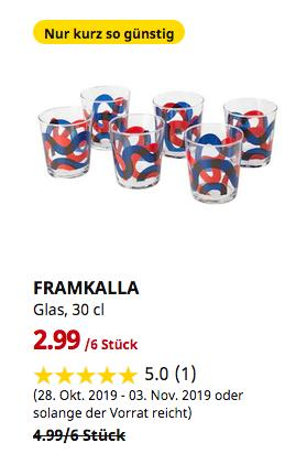 IKEA Hamburg-Altona - FRAMKALLA Glas, gemustert, 30 cl,6 Stück - jetzt 40% billiger