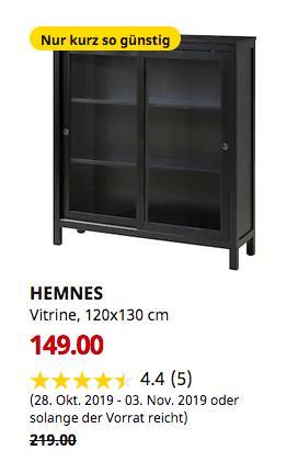 IKEA Hamburg-Moorfleet - HEMNES Vitrine, schwarzbraun, 120x130 cm - jetzt 32% billiger