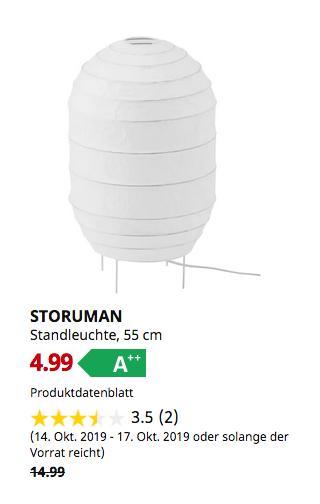 IKEA Hamburg-Schnelsen - STORUMAN Standleuchte, weiß, 55 cm - jetzt 67% billiger