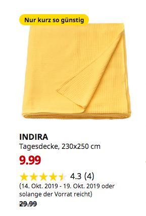 IKEA Hannover EXPO-Park - INDIRA Tagesdecke, gelb, 230x250 cm - jetzt 67% billiger