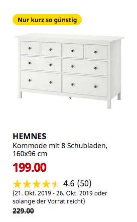 IKEA Köln-Godorf - HEMNES Kommode mit 8 Schubladen, weiß gebeizt, 160x96 cm - jetzt 13% billiger