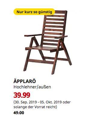 IKEA Köln-Godorf - ÄPPLARÖ Hochlehner/außen, braun, faltbar - jetzt 18% billiger