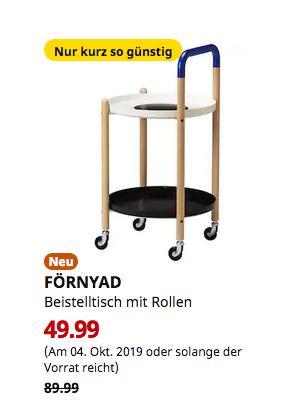 IKEA Kiel - FÖRNYAD Beistelltisch mit Rollen, Buche, schwarz - jetzt 44% billiger