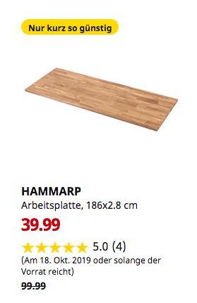 IKEA Kiel - HAMMARP Arbeitsplatte, Eiche, Massivholz, 186x63.5x2.8 cm - jetzt 60% billiger