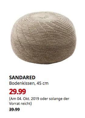 IKEA Koblenz - SANDARED Bodenkissen, beige, 45 cm - jetzt 25% billiger