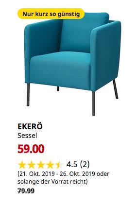 IKEA Ludwigsburg - EKERÖ Sessel, Knisa türkis - jetzt 26% billiger
