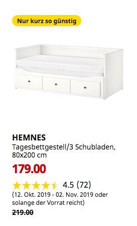 IKEA München-Brunnthal - HEMNES Tagesbettgestell/3 Schubladen, weiß, 80x200 cm - jetzt 18% billiger