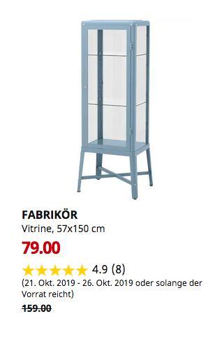 IKEA Magdeburg - FABRIKÖR Vitrine, blau, 57x150 cm - jetzt 50% billiger