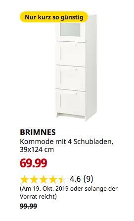 IKEA Osnabrück - BRIMNES Kommode mit 4 Schubladen, weiß, Frostglas, 39x124 cm - jetzt 30% billiger