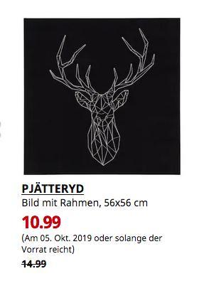IKEA Osnabrück - PJÄTTERYD Bild mit Rahmen, Silberhirsch, 56x56 cm - jetzt 27% billiger
