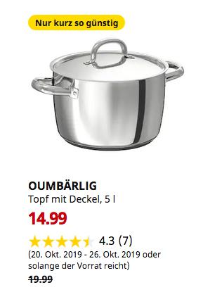 IKEA OUMBÄRLIG Topf mit Deckel, 5 l - jetzt 25% billiger