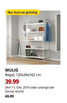 IKEA Regensburg - MULIG Regal, weiß, 120x34x162 cm - jetzt 43% billiger