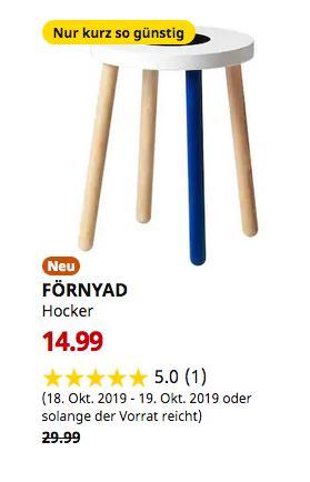 IKEA Saarlouis - FÖRNYAD Hocker, Buche, weiß - jetzt 50% billiger
