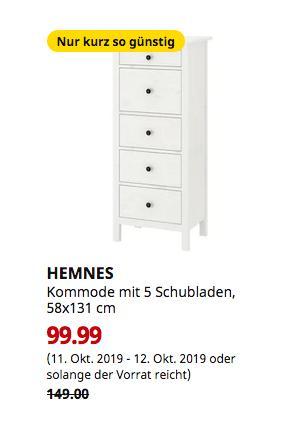 IKEA Saarlouis - HEMNES Kommode mit 5 Schubladen, weiß gebeizt, 58x131 cm - jetzt 33% billiger