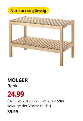 IKEA Sindelfingen - MOLGER Bank, Birke, 79x50x37 cm - jetzt 38% billiger