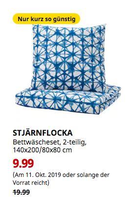 IKEA STJÄRNFLOCKA Bettwäscheset, 2-teilig, weiß, blau, 140x200/80x80 cm - jetzt 50% billiger