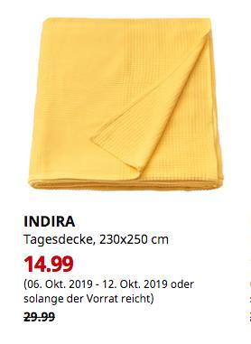 IKEA Würzburg - INDIRA Tagesdecke, gelb, 230x250 cm - jetzt 50% billiger