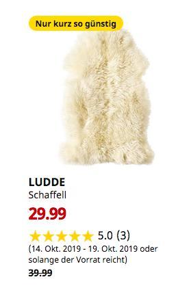 IKEAWallau - LUDDE Schaffell, elfenbeinweiß weiß, 90x55 cm - jetzt 25% billiger