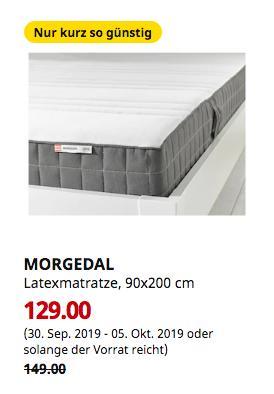 IKEA Wallau - MORGEDAL Latexmatratze, mittelfest, dunkelgrau, 90x200 cm - jetzt 13% billiger