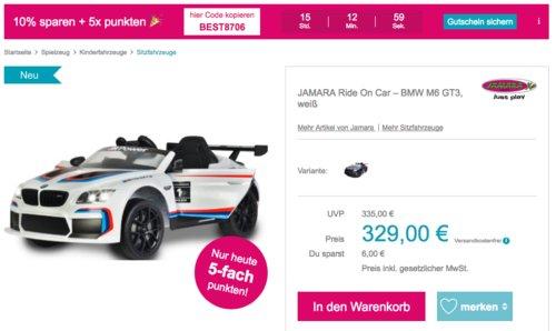 JAMARA Ride On Car – BMW M6 GT3 Kinder-Elektroauto, weiß - jetzt 10% billiger