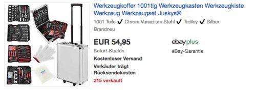 Juskys 21009 Werkzeugkoffer,  1001-teilig - jetzt 21% billiger