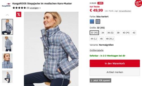 KangaROOS Damen Steppjacke im modischen Karo-Muster, versch. Farben und Größen - jetzt 49% billiger