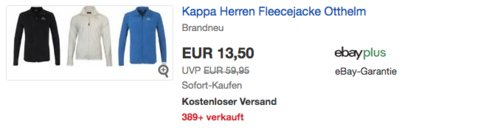 Kappa Herren Fleecejacke Otthelm, versch. Farben und Größen - jetzt 32% billiger