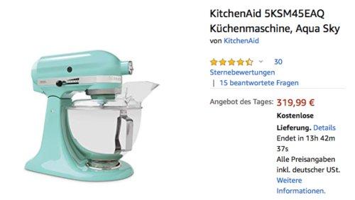 KitchenAid 5KSM45EAQ 4.3L Küchenmaschine, Aqua Sky - jetzt 28% billiger