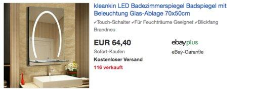 kleankin LED Badezimmerspiegel mit Beleuchtung und Glas-Ablage, 70x50cm - jetzt 5% billiger
