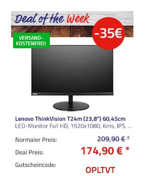 Lenovo ThinkVision T24m (23,8´´) 60,45cm LED-Monitor (Full HD, 1920x1080, 6ms, IPS, USB, DisplayPort, HDMI) - jetzt 15% billiger