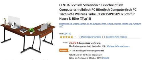 LENTIA Typ1 Eckschreibtisch L130/150 x B50 x H75cm, Rote Walnuss Farbe - jetzt 5% billiger