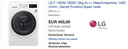 LG F 14WM 10ES0 10kg Waschmaschine, A+++ - jetzt 9% billiger