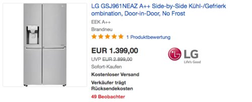 LG GSJ961NEAZ A++ Side-by-Side Kühl-/Gefrierkombination, 179 cm hoch - jetzt 8% billiger