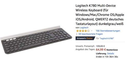 Logitech K780 Multi-Device Bluetooth-Tastatur, QWERTZ deutsches Tastaturlayout - jetzt 18% billiger