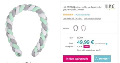LULANDO 300 cm Nestchenschlange Zopfmuster, Bettschlange/Bettumrandung für Babys - jetzt 9% billiger