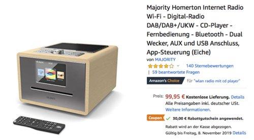 Majority Homerton Internetradio (DAB/DAB+/UKW/FM, CD-Player, Bluetooth), versch. Farben - jetzt 30% billiger